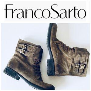 Franco Sarto Brown Suede Combat Moto Boots